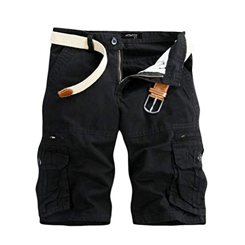 TEBAISE Pants Pure Color Shorts Herren Outdoor Taschen Strand Arbeit Hosen Cargo Pant 3/4 Herren Cargo Short Hose (Schwarz,32) (24 Zoll Swim Trunks)