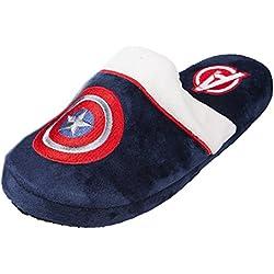 Oficial Marvel Comics Capitán América escudo Logo mula adultos Slip zapatillas, Azul, EU 42-45