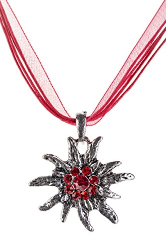 Trachtenkette Edelweiss Trachtenschmuck - Trachten Kette mit feinem Strass in div. Farben - Halskette für Dirndl und Lederhosen (Rot)