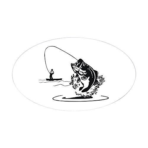 CafePress–Bass Angeln Oval Aufkleber–oval Bumper Sticker KFZ Aufkleber, weiß, Large - 4.5x7.5 (Bass-fischen-shirt)