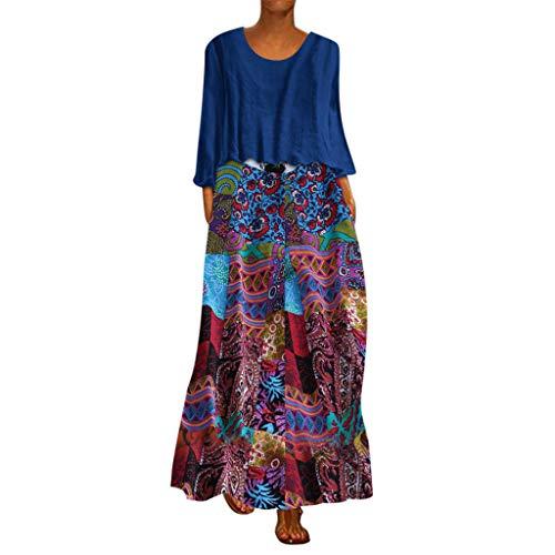 WUDUBE Robe Maxi Femme Ancien Chic Deux Pièces Robe Ethnique Impression Robe à Manches Longues L'automne O-Cou en Vrac Grande Taille Longue Robe