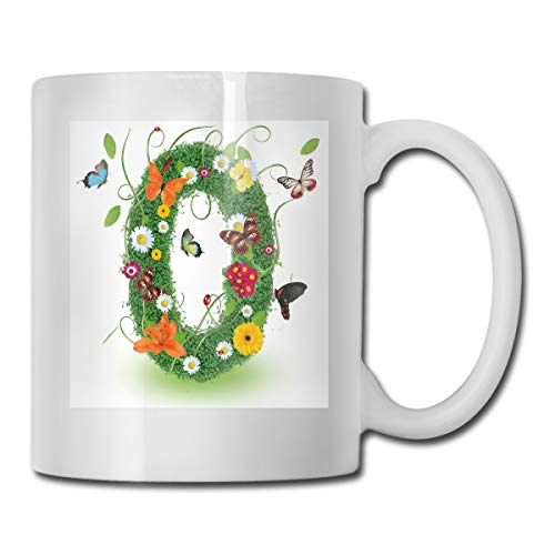 Jolly2T Funny Ceramic Novelty Coffee Mug 11oz,Spring Season Alphabet with Grass Daisy Butterflies Ladybugs Greenland Florets,Unisex Who Tea Mugs Coffee Cups,Suitable for Office and Home Butterfly Demitasse
