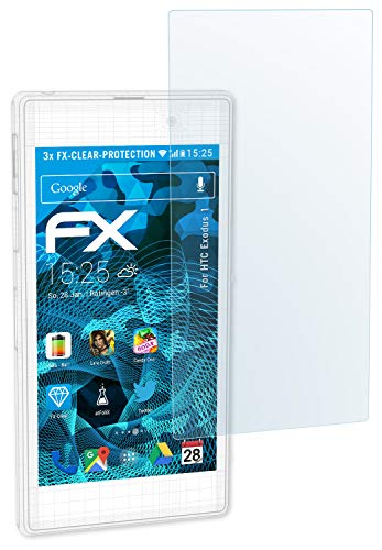 atFolix Schutzfolie kompatibel mit HTC Exodus 1 Folie, ultraklare FX Displayschutzfolie (3X)