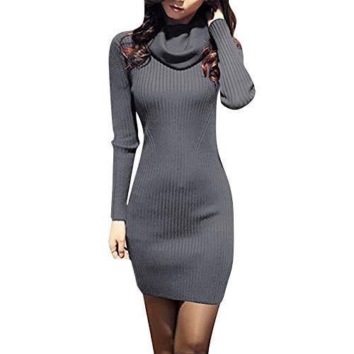 ini Kleider, Frauen Cowl Neck Kleider, Stricken Dehnbar Elastizität Langarm Slim Fit Pullover Kleid, 2018 Fashion Halloween Kleider ()