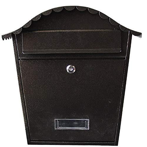 ndhaus-im Freien An Der Wand Befestigter Briefkasten-Gussaluminium-Zeitungs-Kasten Retro Ausgangspostkasten Mit Verschluss-Inbox -Mail-Sammlung (Farbe : Schwarz) ()