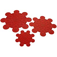 Kuhn Rikon 20039 Topf-und Pfannenschutz 3er Set rot Protector para sartenes, Rojo, Silicona