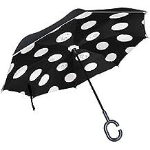 Mi Diario Doble Capa Paraguas invertido coches Reverse paraguas blanco clásico negro de lunares, resistente