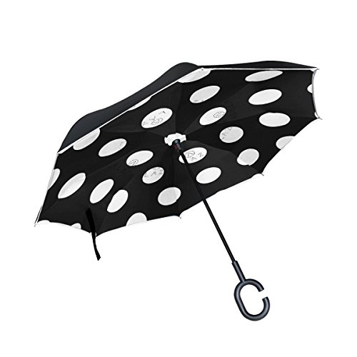 Mi Diario Doble Capa Paraguas invertido coches Reverse paraguas blanco clásico negro de lunares, resistente al viento UV prueba de viaje al aire libre Paraguas