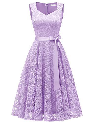 GardenWed Damen Elegant Spitzenkleid Strech Herzform Abendkleid Cocktailkleider Partykleider Lavender XL (Cocktail-kleid Abend Hochzeit)