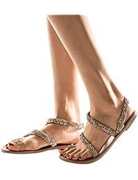 Neu Perle Gummiband Ethnische Stil Hausschuhe Damen Schuhe Sandalen Flat heel