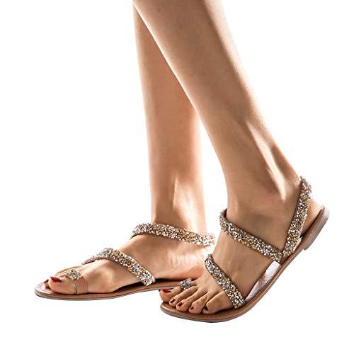 FRAUIT Sandalias De Mujer De Cruz Zapatos De Verano Zapatillas Planas