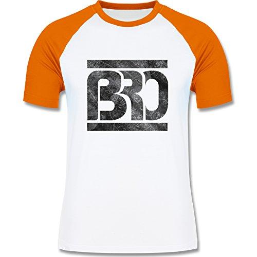 Statement Shirts - BRO - zweifarbiges Baseballshirt für Männer Weiß/Orange