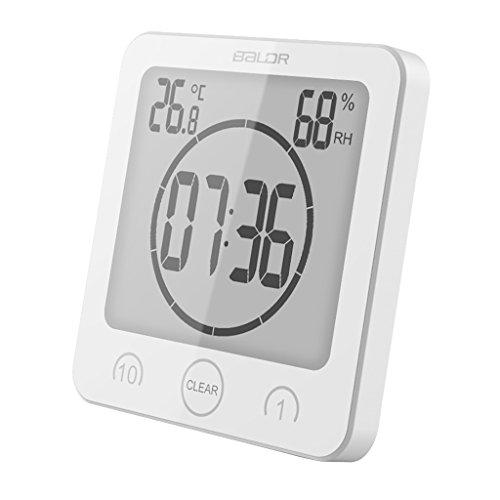 Baoblaze Digital Dusche Wanduhr Baduhr Badezimmeruhr Saugnapf Uhr mit Temperatur Feuchtigkeit Anzeige - Weiß