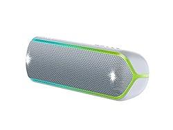 Sony SRS-XB32 kabelloser Bluetooth Lautsprecher (tragbar, NFC, farbige Lichtleiste, Extra Bass, Stroboskoplicht, wasserabweisend, kompatibel mit Party Chain) grau