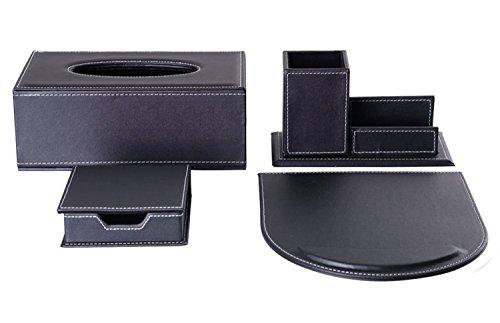 KINGFOM 4pcs Leder büro Schreibtisch Set -- Inklusive Kosmetiktücherbox ,Mauspad, Stifthalter mit Visitenkartenhalter und Zettelbox (T11-4-Schwarz) -