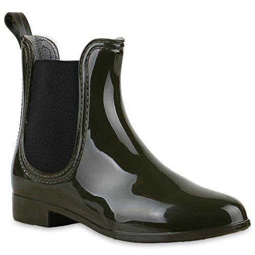 Bequeme Stiefeletten | Damen Chelsea Boots | Gummistiefel Lack Schuhe Dunkelgrün