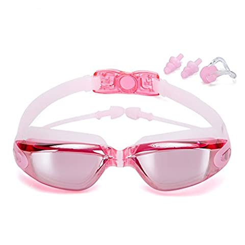 Swimming Goggles No Leaking Anti Fog UV Protection Triathlon Swim Goggles with Free Protection Case + Nose Clip + Ear Plugs for Adult Men Women Girls Boys Kids Child-Pink