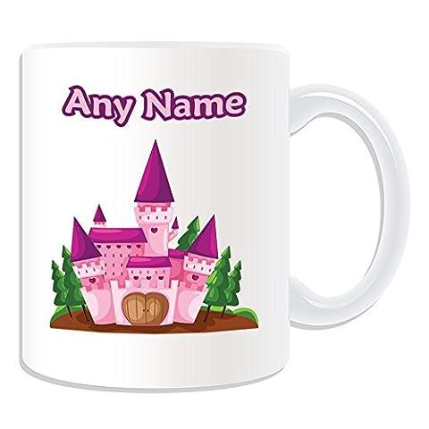 Cadeau personnalisé-Rose-Mug Motif château de conte de fée Blanc conception,