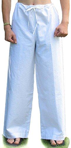 HEMAD Schnürhose S-XXXL schwarz, blau, rot, grün, braun, beige, weiß - Herren Mittelalter Hose reine Baumwolle Weiß