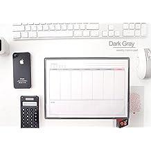 2young semanal Memo Pad–Bloc de notas escritorio planificador semanal planificador, color gris oscuro