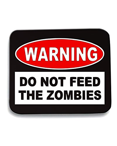 T-Shirtshock - Tappetino Mouse Pad TZOM0049 warning do not feed the zombies, Taglia taglia unica