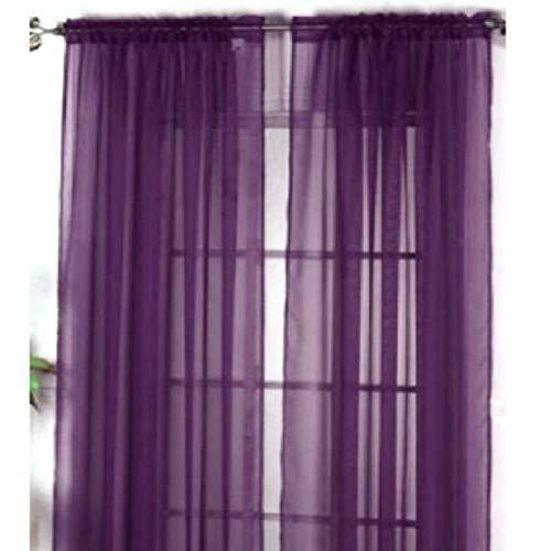 Leeba trasparente colore solido tenda windows 39.3w × 78.7l pollici rustico filato tenda voile tende per camera da letto (punte singolo film prezzo), dark purple, 100×200cm