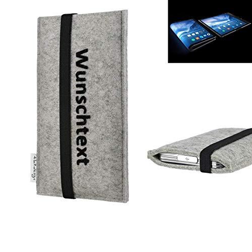 flat.design Handy Hülle Coimbra für Royole FlexPai maßgeschneiderte Handytasche Filz Tasche Case schwarz grau