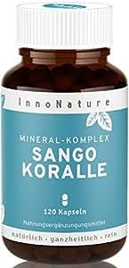 InnoNature - Sango Meereskoralle - 100% natürliches basisches Kalzium, Magnesium und über 70 Spurenelemente für Muskelfunktion, Energiestoffwechsel, Zellteilung und Knochen. 120 Kapseln im Monatsvorrat. Calcium (20%) und Magnesium (10%) im - optimalen körpereigenen Verhältnis 2:1 - Sehr hohe Bioverfügbarkeit, hochdosiert, vegane Sango-Meeres-Koralle Kapseln, hergestellt in Hamburg, DE.