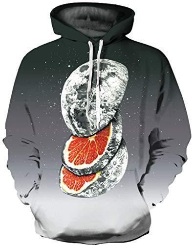 Ocean Plus Jungen 3D Kapuzenpullover Spaß Sweatshirt Hoodie mit Kängurutasche Sportlich Digitaldruck Pullover mit Kapuze (L (Körpergröße: 125-135cm), Geschnittene Grapefruit)