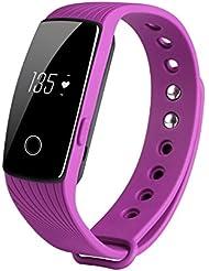 COOSA Tracker d'activité sommeil rythme cardiaque Bracelet d'activité connecté avec écran pédomètre de fitness intelligent Smart avec appli pour Android et iOS (H3, 1Voilet)