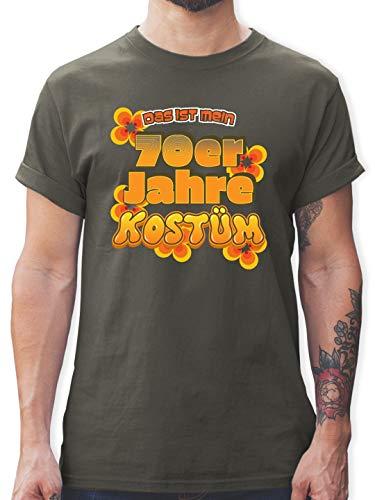 Karneval & Fasching - Das ist Mein 70er Jahre Kostüm - L - Dunkelgrau - L190 - Herren T-Shirt ()