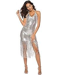 waitFOR Vestiti Donna Estivi-Vestiti Donna Eleganti Lunghi Vestito  Cerimonia Donna Abito da Donna Sexy con Scollo A… 736d073ade2