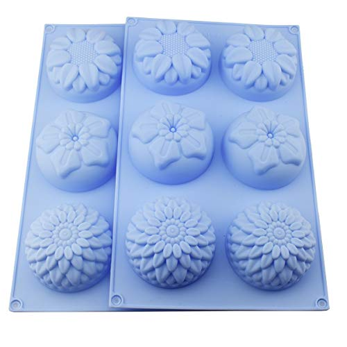 2 packs 6-flower Tournesol Chrysanthème Savon Chocolat Muffin Cupcake Moule en silicone pour maison, DIY Cookie Moule flexible en silicone