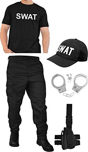 Schwarzes Schwarze Kostüm T Hose Shirt - normani SWAT Kostüm bestehend aus Hose, T-Shirt, Pistolenholster, Cap und Handschellen Größe XXL