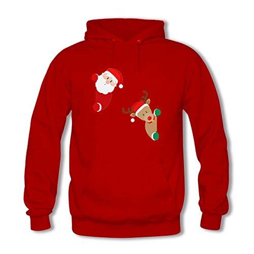 Womens CartoonFunny Santa Claus and Elk Printed Cotton Long Sleeve Unisex Hoodie Casual Pullover Hooded Sweatshirt Red XL