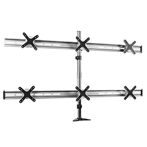 """auna ET01-C06 Monitor- Tischhalterung Halter Befestigung Monitorarm für 6 Monitore Bildschirme LED LCD (für 33 bis 58cm (13 und 23\"""") 2 Etagen,Tragkraft: 6 x 8kg, Max Vesa 100) weiß"""