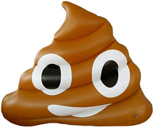 Materassino Gonfiabile 160x130 cm in PVC a Forma di Emoji Ranieri Face Cacca Marrone