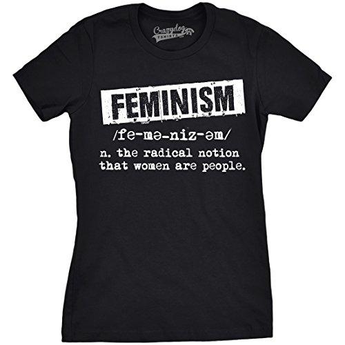 Crazy Dog Tshirts - Womens Feminist Definition Cool Empowerment T-Shirt For Ladies (Black) -M - Camiseta para Mujer
