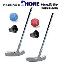 Minigolfset PARTNER - 6-teilig (mit 2x original SHORE Minigolfball-Anlagenball) und 2x Minigolf-Pick-Up
