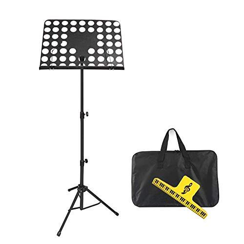 TYUIO Folding Noten Ständer bewegliche Faltbare Metallstandplatz-Kit mit Licht Tragetasche, Schwarz/Weiß (Color : A)