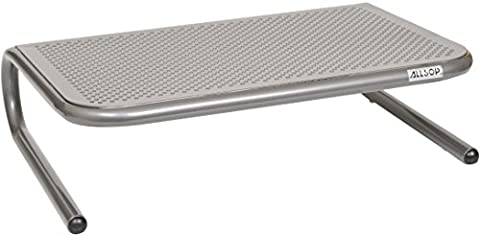 Allsop Metal Art Jr. Monitor Stand, 14-Inch wide platform holds 18kg (40 lbs) with keyboard storage space - Pewter