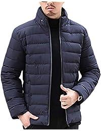 Yonglan Uomo Piumino Inverno Stand Collare Addensare Caldo Giù Giacca  Trapuntata Cappotto Marina Militare L befda0007e6