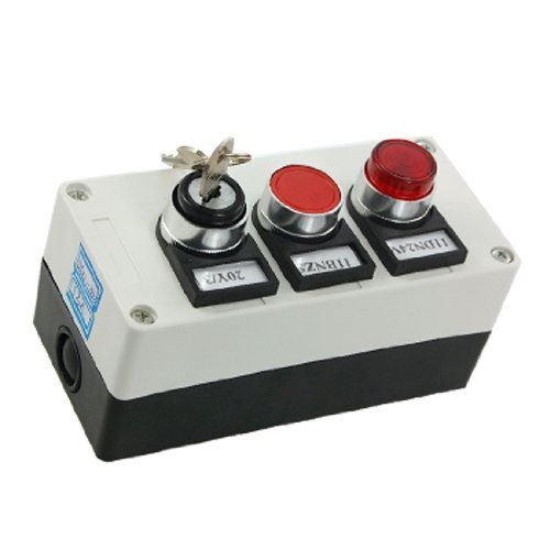 3 in 1 Key Locking Red Light Push Button Switch Station -