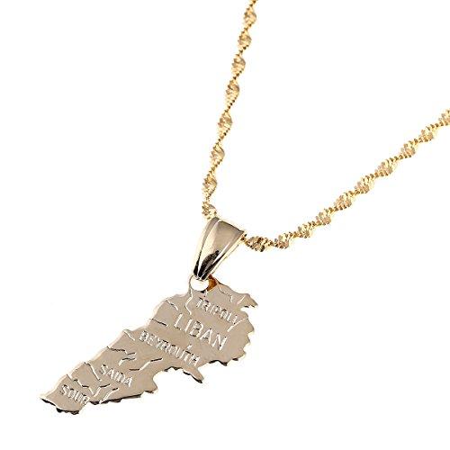 Libanon Land Karte Anhänger Ketten Gold Farbe Jewelry Liban Karten von Libanesische Patriotische Geschenke