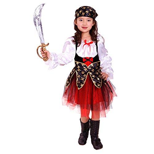 Piraten Mädchen Kostüm Prinzessin Meer - LOLANTA Karibisches Piratenkostüm für Mädchen Halloween Buccaneer Cosplay Kostüm (6-7 Jahre)