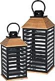 made2trade 2er Set Laternen für In- und Outdoor aus Holz und Metall