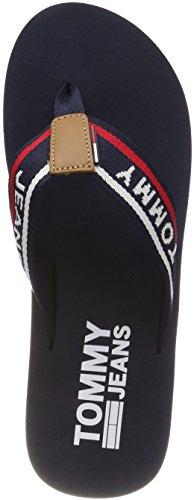 Hilfiger Denim Herren Tommy Jeans Mens Beach Sandal Zehentrenner, Blau Navy 406, 42 EU
