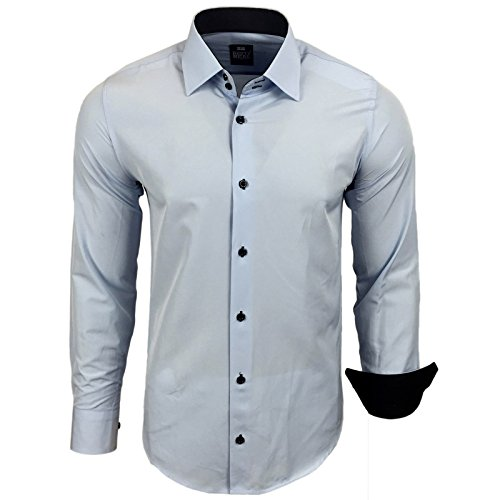 Rusty Neal Herren Kontrast Hemd Business Hochzeit Freizeit Slim Fit S bis 6XL Hellblau