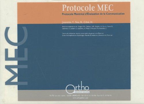 Protocole MEC : Montréal d'évaluation de communication : Coffret en 4 volumes : Livret introductif, Cahier de stimuli, Cahier de notation, Guide de de cotation Avec 1 Cassette audio et 1 CD-Rom par Yves Joanette, Bernadette Ska, H Cote