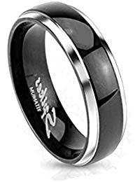 Paula & Fritz® titanium ring silver 6 mm wide band ring with diagonal gold inserts available ring sizes 47(15)- 66(21) R-TI-0619-6.